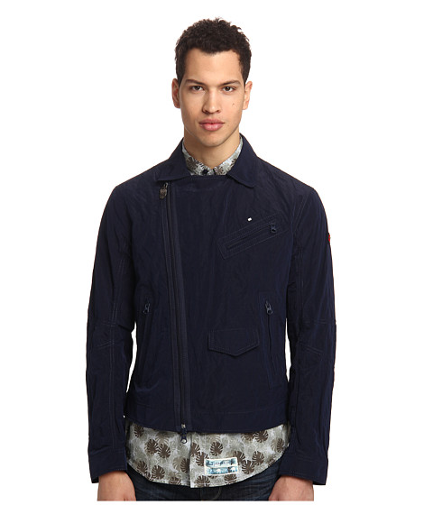 Armani Jeans - Diagonal Zip Up Jacket (Blue) Men's Jacket