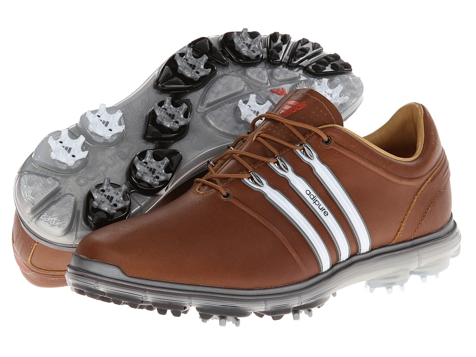 adidas Golf - pure 360 (Tan Brown/White/Dark Solar Blue) Men's Golf Shoes