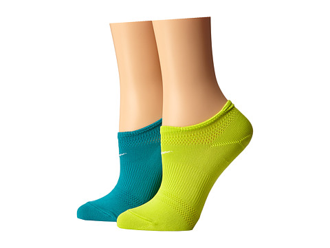 Nike - 2 Pair Pack Lightweight Studio No Show (Turbo Green/White/Venom Green/White) Women's No Show Socks Shoes