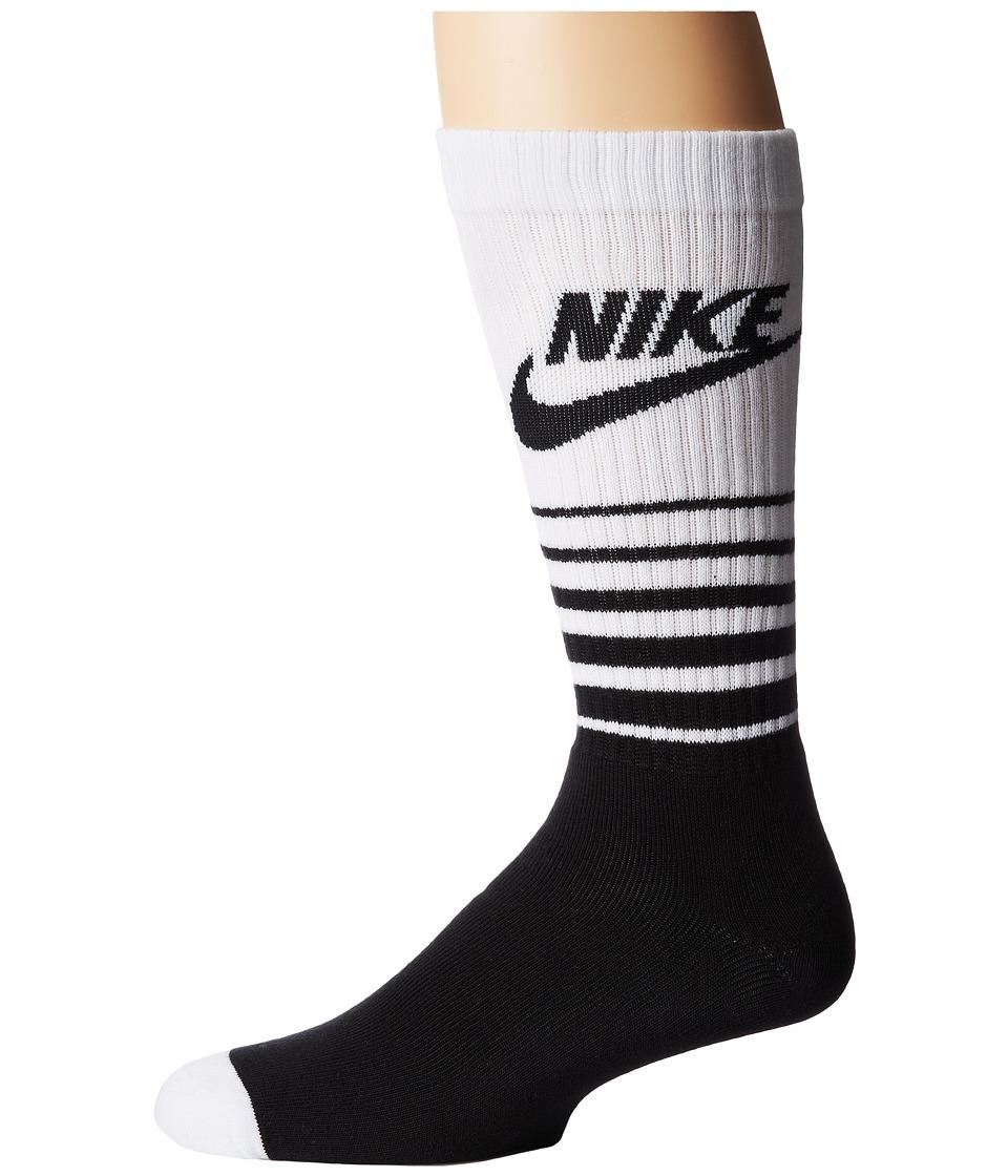 Nike - NSW Classic Striped HBR Sock (Black/White) Men's Crew Cut Socks Shoes