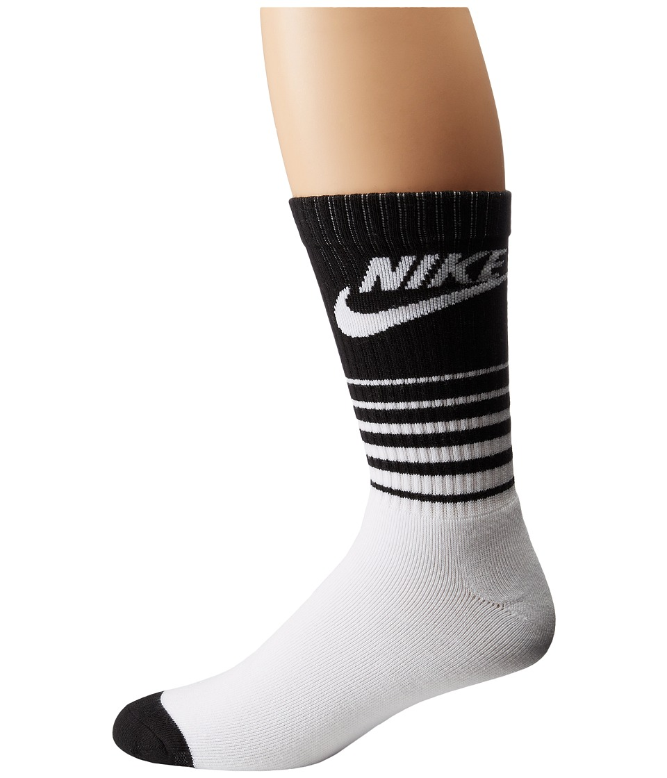 Nike - NSW Classic Striped HBR Sock (White/Black) Men's Crew Cut Socks Shoes