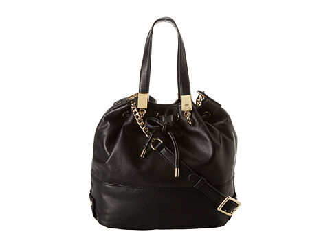 Juicy Couture Selma Leather Collection Bucket Bag (Black) Satchel Handbags