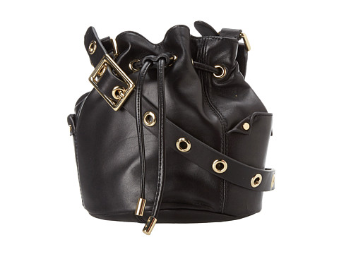 Juicy Couture Selma Leather Collection Mini Bucket Bag (Black) Cross Body Handbags