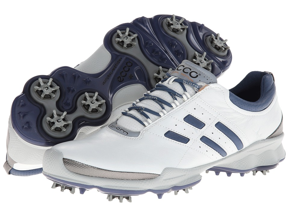 ECCO Golf - Biom Golf (White/Denim Blue) Men's Golf Shoes