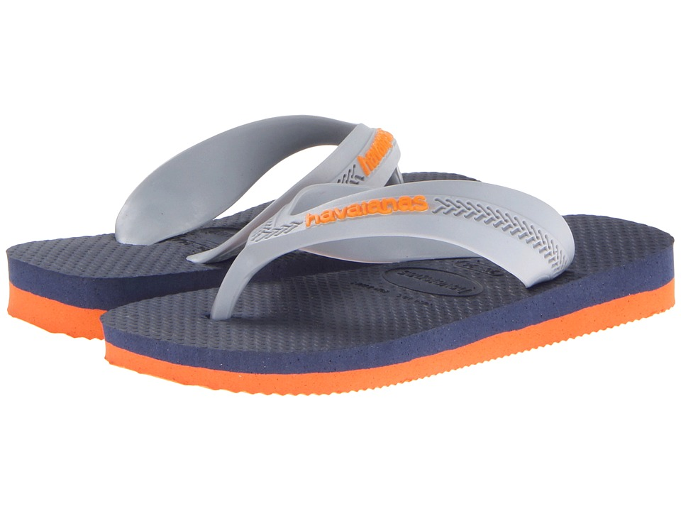Havaianas Kids - Max (Toddler/Little Kid/Big Kid) (Orange/Navy Blue) Boys Shoes