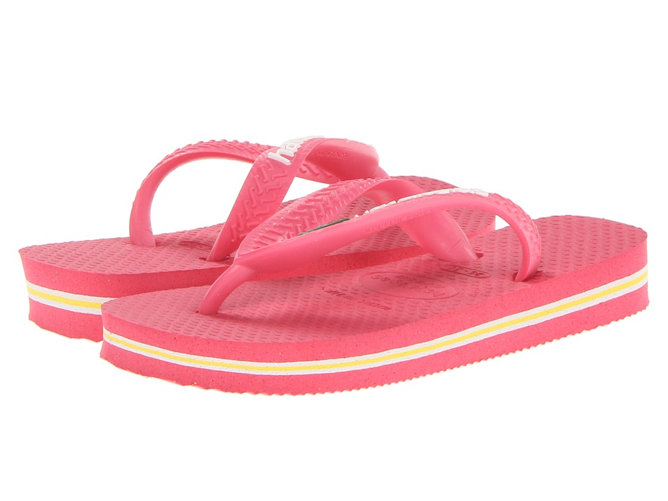 Havaianas Kids - Brazil Logo Flip Flops (Toddler/Little Kid/Big Kid) (Neon Pink) Girls Shoes