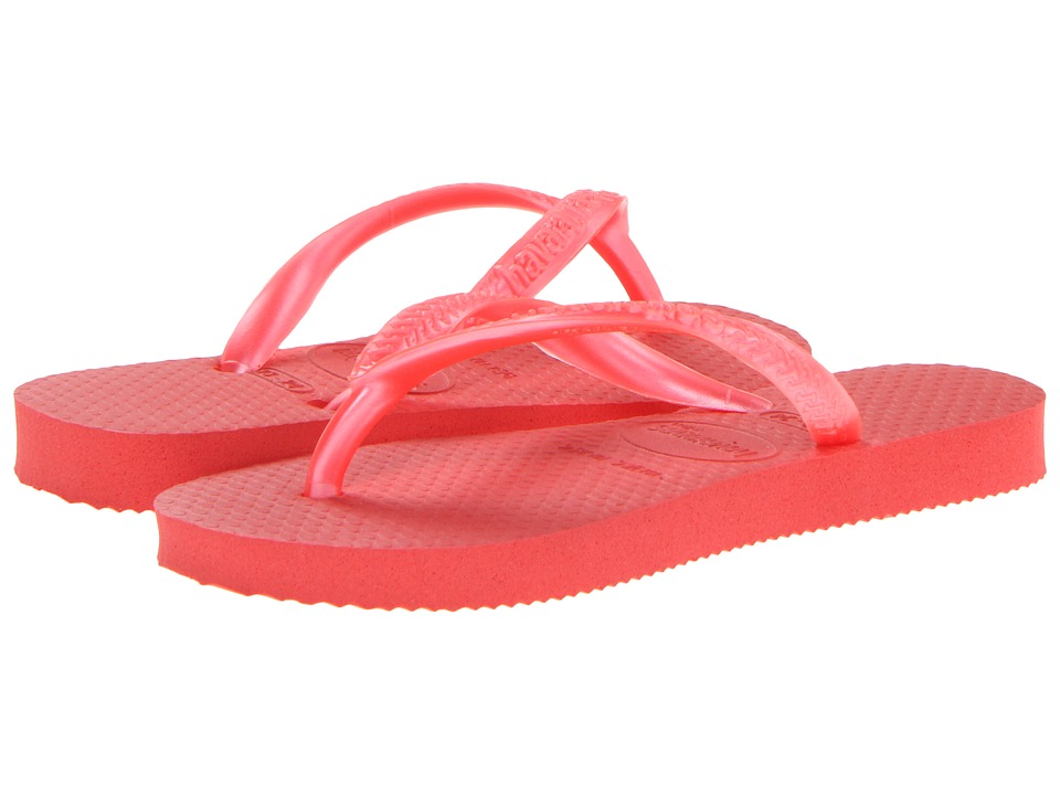 Havaianas Kids - Slim Flip Flops (Toddler/Little Kid/Big Kid) (Guava Red) Girls Shoes
