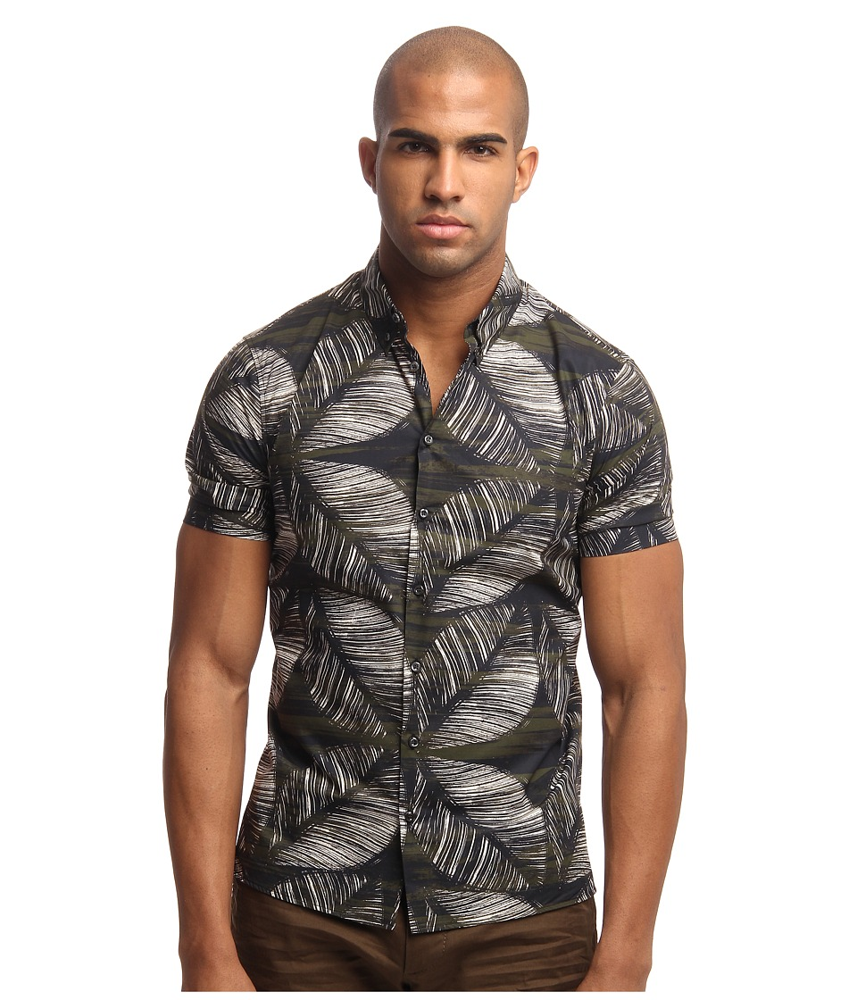 DSQUARED2 - Printed Poplin Idraulic S/S Button Up (Off White/Black/Green) Men's Short Sleeve Button Up