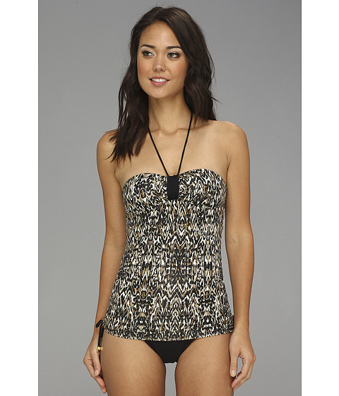 Badgley Mischka - Zara Shirred Bandeau Tankini (Black) Women