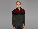DKNY Jeans L/S Mock Neck Color Blocked Stripe Sweater