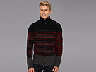 DKNY Jeans L/S Button Front Mock Neck Fairisle Block Sweater