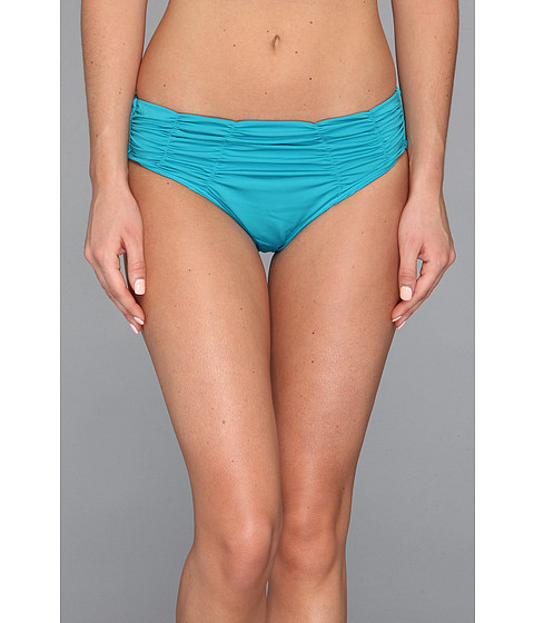 Badgley Mischka - Solids Pin Stitch Shirred Brief (Pacific) Women's Swimwear