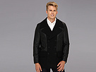 DKNY Jeans Pieced Wool/Faux Leather Biker Peacoat