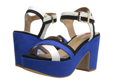 LOVE Moschino - Colorblock Platform Sandal (Black/Blue/White) High Heels