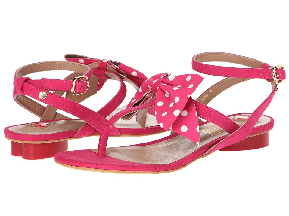 LOVE Moschino - Polka Dot Bow T-Strap Sandal (Fuschia/White) Women