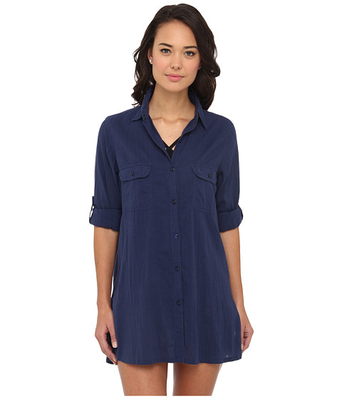 LAUREN by Ralph Lauren - Crushed Cotton Camp Shirt Cover-Up (Bright Indigo) Women