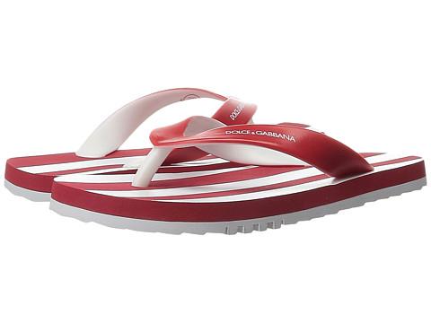 Dolce & Gabbana - Stripe Thong Sandal (Little Kid/Big Kid) (White/Red) Men's Sandals