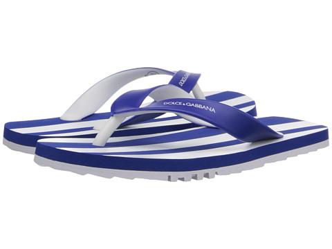 Dolce & Gabbana - Stripe Thong Sandal (Little Kid/Big Kid) (White/Blue) Men