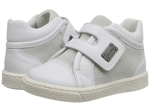 Dolce & Gabbana - Low Top Suede Trainer (Toddler) (White) Men's Shoes