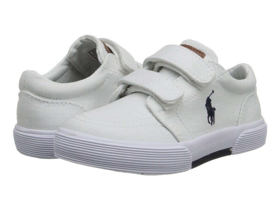 Polo Ralph Lauren Kids - Faxon II EZ (Toddler) (White Ripstop Canvas) Boys Shoes