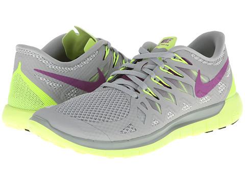 Nike Nike Free 5.0 '14 (Base Grey/Volt/Light Base Grey/Bright Grape) Women's Running Shoes