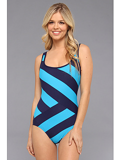 SALE! $66.99 - Save $23 on DKNY Chic Stripe Spliced Scoop Back Maillot One Piece (Currant) Apparel - 25.57% OFF $90.00