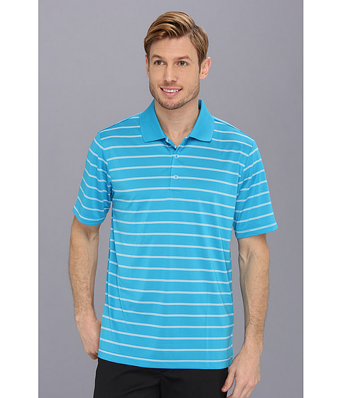 adidas Golf - Puremotion 2-Color Stripe Jersey Polo '15 (Solar Blue/White) Men's Short Sleeve Knit