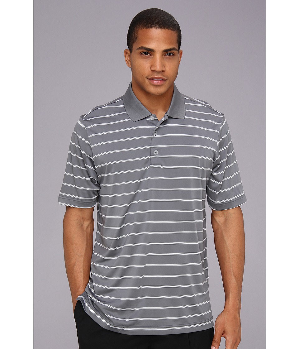 adidas Golf - Puremotion 2-Color Stripe Jersey Polo '15 (Lead/White) Men's Short Sleeve Knit