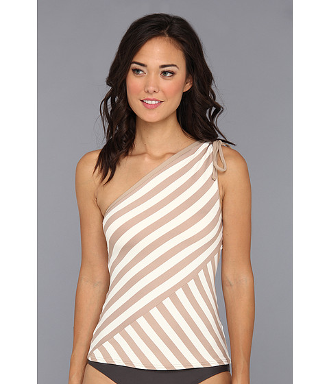 DKNY - Chic Stripe Spliced One Shoulder Tankini (Bare) Women's Swimwear