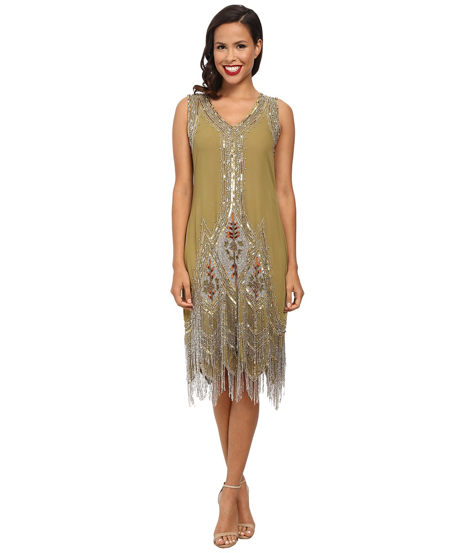 Unique Vintage - Green Silver Embroidered Flapper Dress (Green) Women