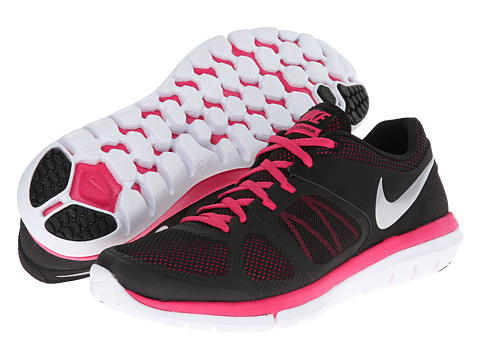 Nike - Flex 2014 Run (Black/Vivid Pink/White/Metallic Silver) Women's Running Shoes