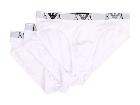 Emporio Armani - 3 Pack Cotton Hip Brief (White) Men