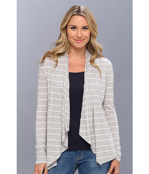 Tommy Bahama - Pico Stripe Jersey Cardigan (Fossil Grey Heather) Women's Sweater