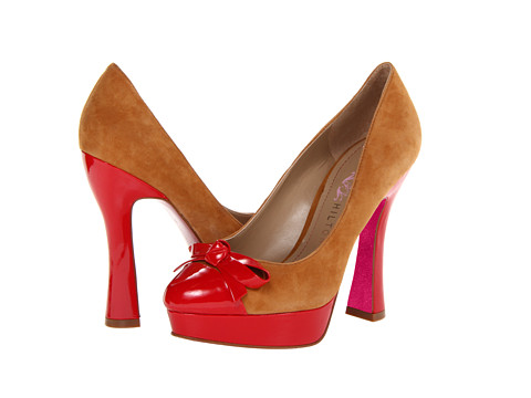 Paris Hilton Lacey (Camel Suede/Red Patent) High Heels