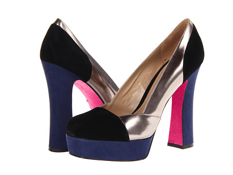 Shop Paris Hilton online and buy Paris Hilton Rebecca Black Suede-Pewter-Navy Shoes - Paris Hilton - Rebecca (Black Suede/Pewter/Navy) - Footwear: The Rebecca is a go-to pump for when you need go-to style. ; Suede upper pops with colorblocking metallic man-made detailing. ; Man-made lining and fully cushioned footbed. ; Flared chunk heel and platform midsole. ; Man-made outsole with rubber heel cap. ; Imported. ; Signature Paris Hilton pink sparkle outsole. Measurements: ; Heel Height: 4 in ; Weight: 11 oz ; Platform Height: 1 in ; Product measurements were taken using size 5.5, width M. Please note that measurements may vary by size.