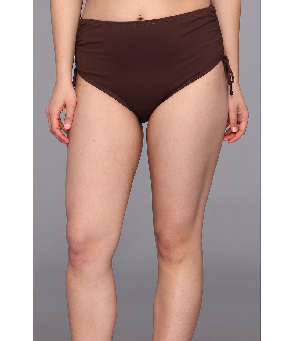 MICHAEL Michael Kors - Plus Size Linked Solids Shirred Hipster Bottom (Milk Chocolate) Women's Swimwear plus size,  plus size fashion plus size appare