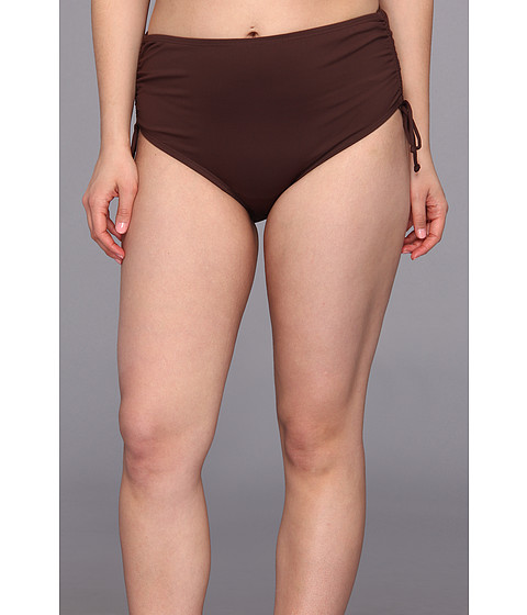 MICHAEL Michael Kors - Plus Size Linked Solids Shirred Hipster Bottom (Milk Chocolate) Women's Swimwear