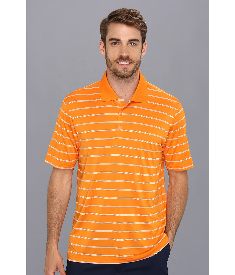 adidas Golf - Puremotion 2-Color Stripe Jersey Polo '15 (Light Orange/White) Men's Short Sleeve Knit
