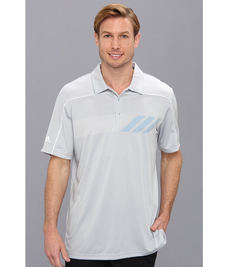 adidas Golf - CLIMACHILL Print Polo '14 (Light Onyx/White/Solar Blue) Men's Short Sleeve Button Up