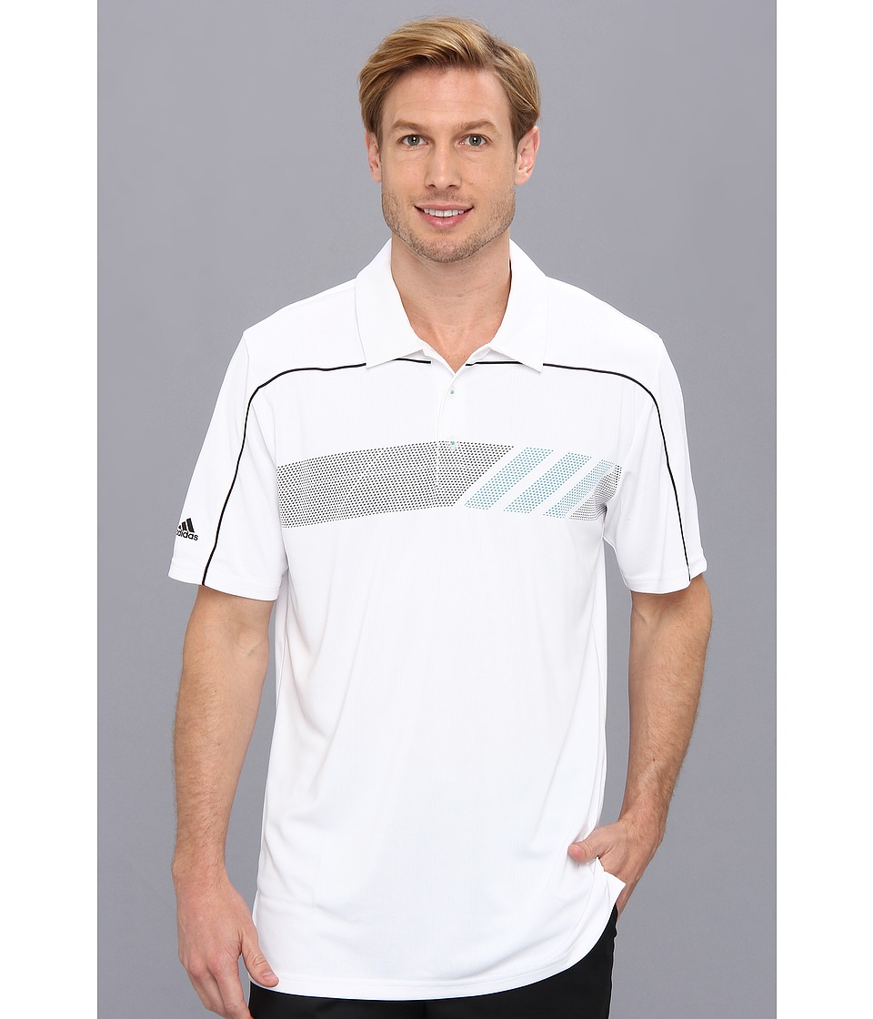 adidas Golf - CLIMACHILL Print Polo '14 (White/Black/Solar Blue) Men's Short Sleeve Button Up