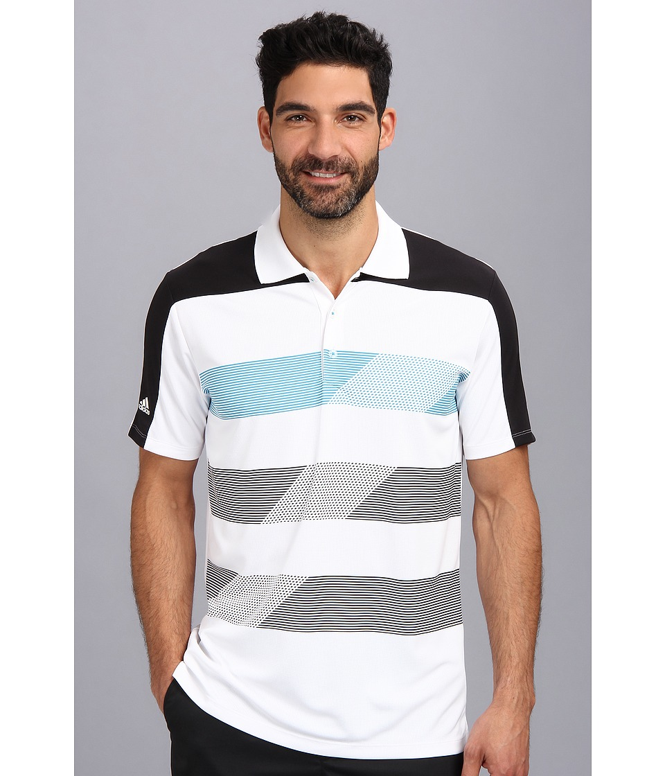 adidas Golf - CLIMACHILL Stripe Block Polo (White/Black/Solar Blue) Men
