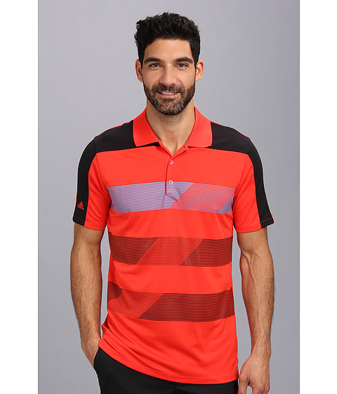 adidas Golf - CLIMACHILL Stripe Block Polo (Hi-Res Red/Black/Solar Blue) Men
