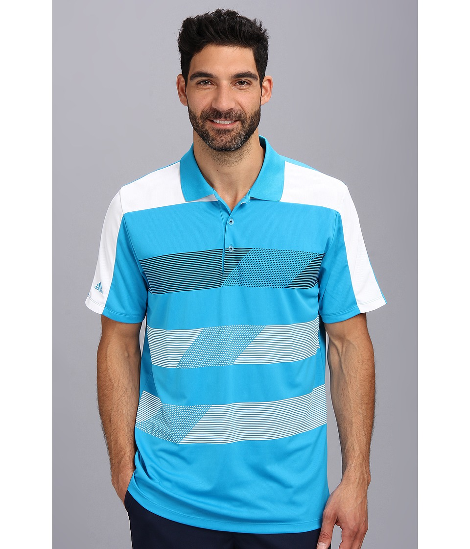 adidas Golf - CLIMACHILL Stripe Block Polo (Solar Blue/White/Black) Men