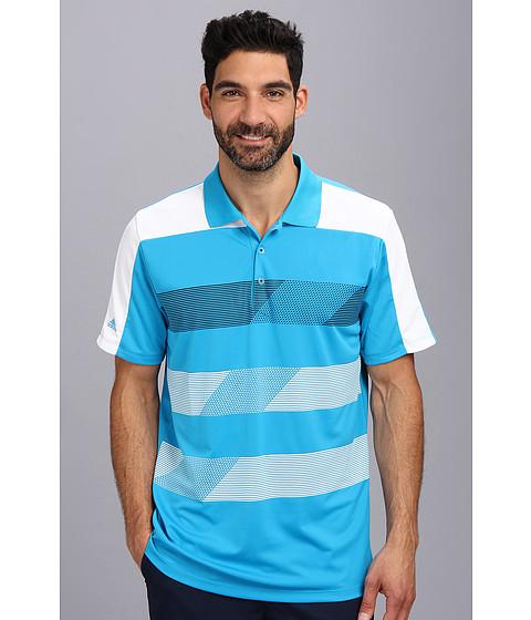 adidas Golf - CLIMACHILL Stripe Block Polo (Solar Blue/White/Black) Men's Short Sleeve Pullover