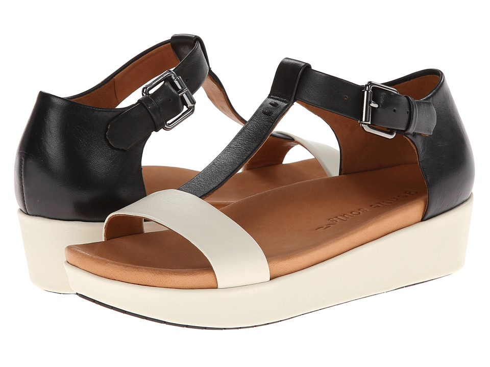 Gentle Souls - Janelle (White/Black Leather) Women's Wedge Shoes