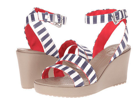 Crocs - Leigh Graphic Wedge (Nautical Navy/White) Women's Wedge Shoes