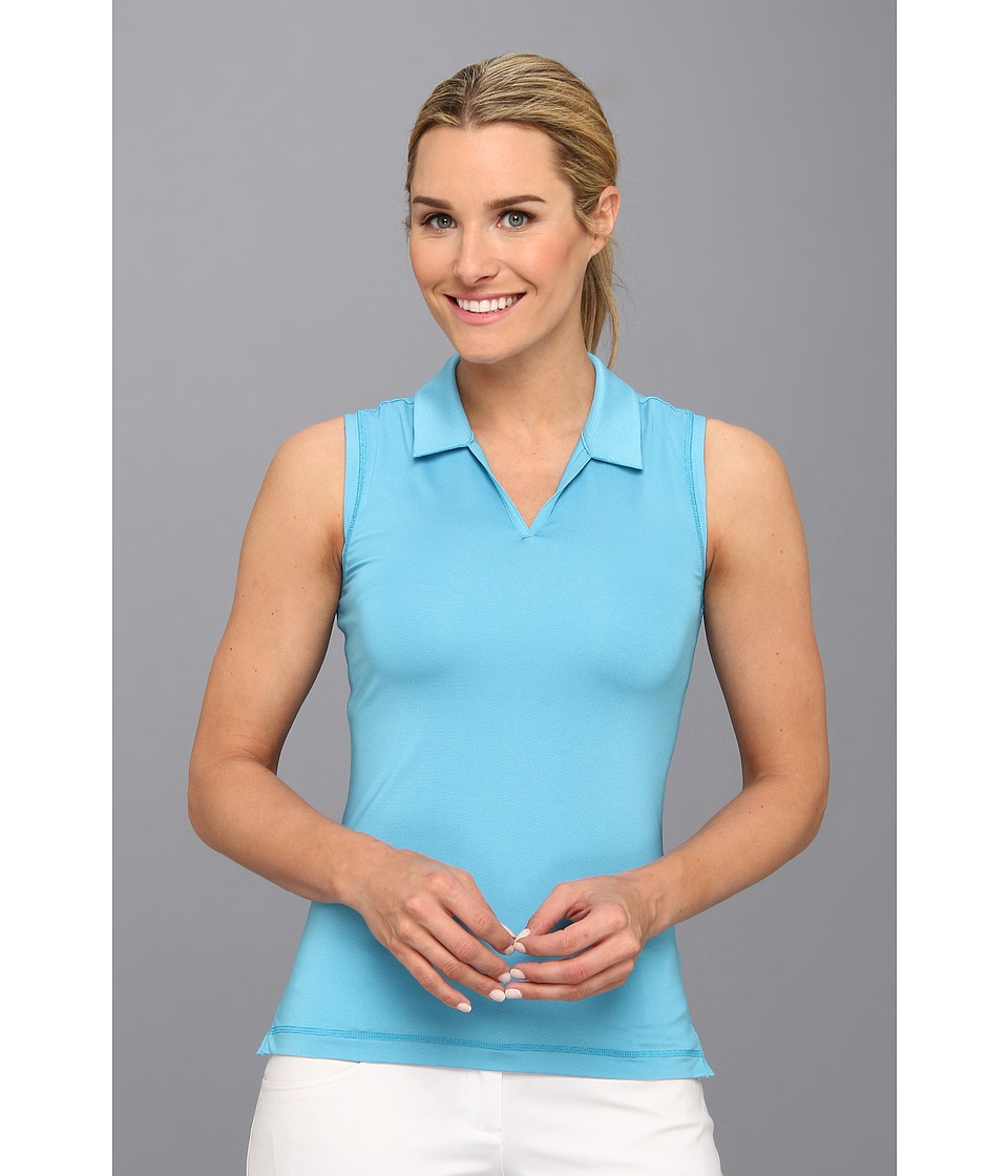 adidas Golf - Sleeveless Microstripe Polo '14 (Solar Blue/White) Women's Sleeveless