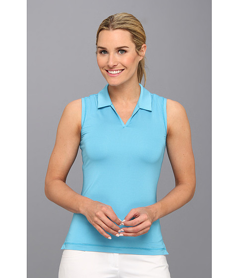 adidas Golf - Sleeveless Microstripe Polo '14 (Solar Blue/White) Women's Sleeveless