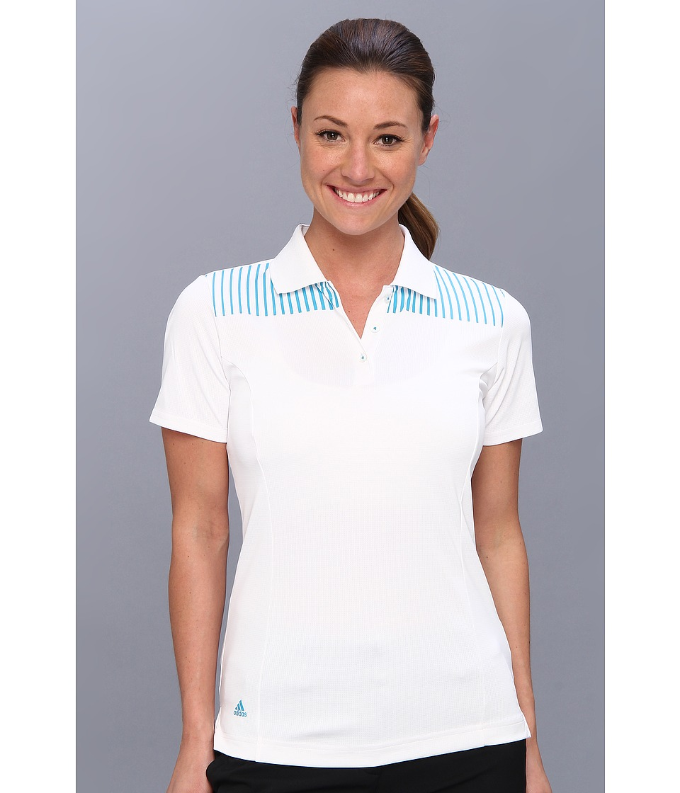 adidas Golf - CLIMACHILL Engineered Print Polo '14 (White/Solar Blue) Women's Short Sleeve Pullover