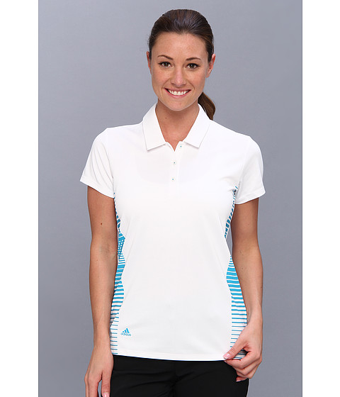 adidas Golf - CLIMACHILL Block Print Polo '14 (White/Solar Blue) Women's Short Sleeve Pullover